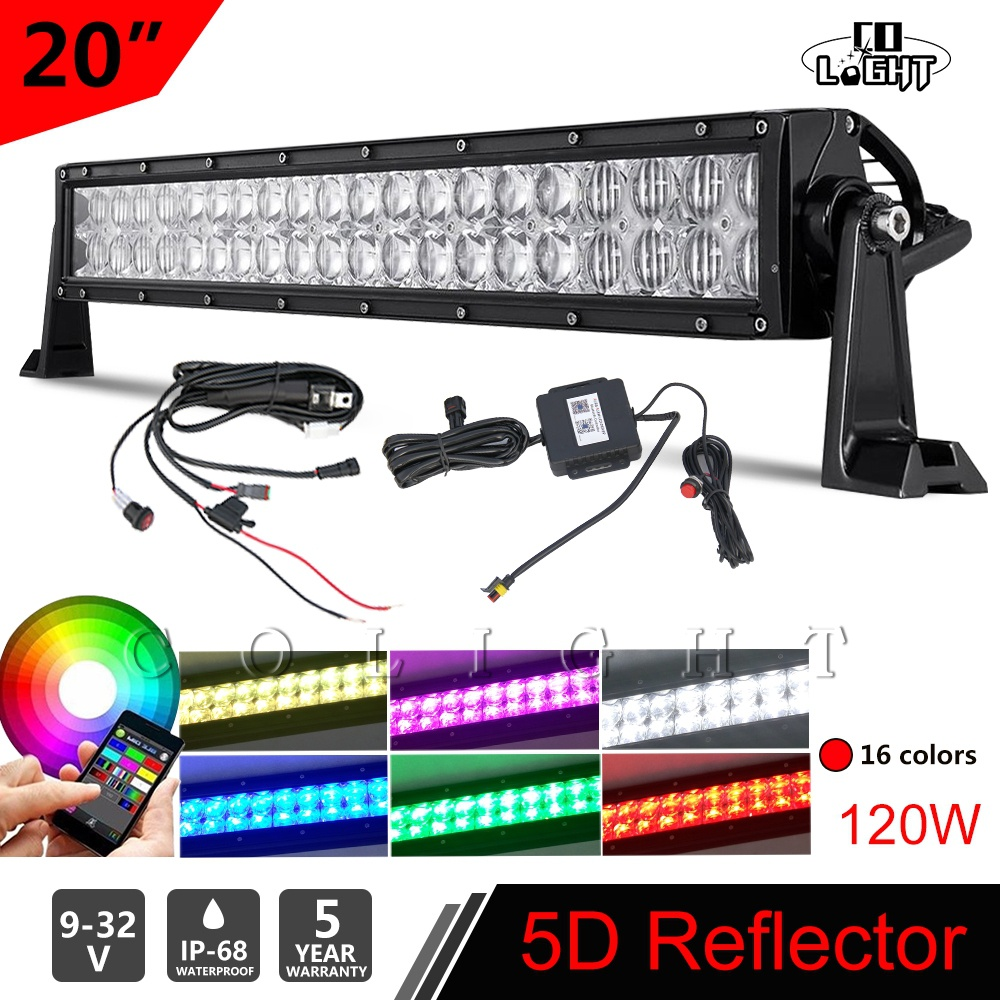 CO LIGHT 22120W LED Work Light Bar Combo 5D RGB Strobe Music Flash Multicolor Change Bluetooth Offroad for SUV ATV Lada BMW 12V 22 inch led bar offroad 120w led light bar off road 4x4 fog work lights for trucks tractor atv spot flood combo led lightbars
