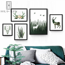Nordic Abstract Canvas Printing Modern Natural Scene Deer Antler With Beautiful Flowers Decorative Paintings For Home Decor
