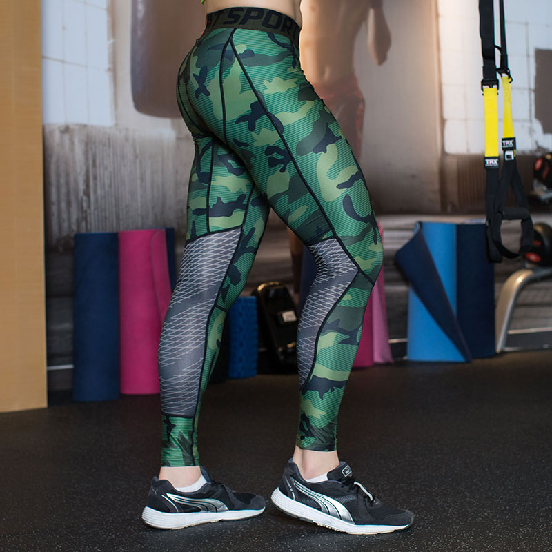 Camouflage Men Compression Tights 2016 New Camo Pants Lycra Skinny Leggings G-ym Clothing Pants Fitness Jogger