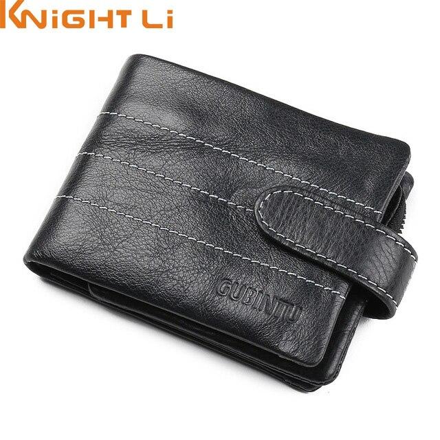 Genuine Leather Men Wallets Fashion Purse Card Holder Vintage Man Wallet Zipper Bag N351