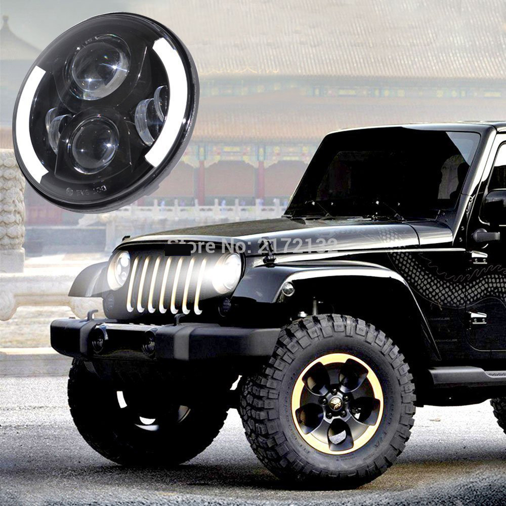 1Pair 7 7Inch 40W Led Headlight Hi/Lo Beam Replacement Kit With amber Angel Eyes For Jeep Wrangler 1pair 7inch led headlight high low beam yellow truning signal for jeep wrangler with angel eyes