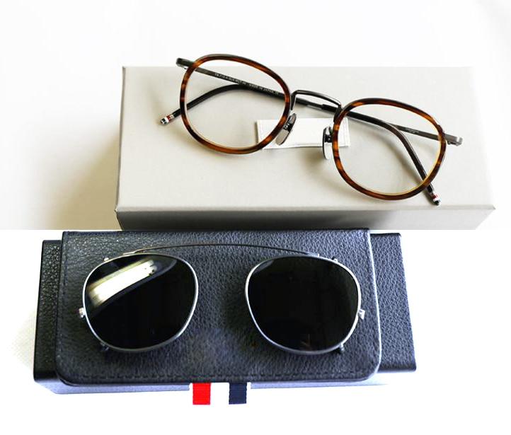 Gafas o gafas de sol New York Eyeglasses para hombre Ópticas recetadas con titanio óptico TB710 con clip y estuche original