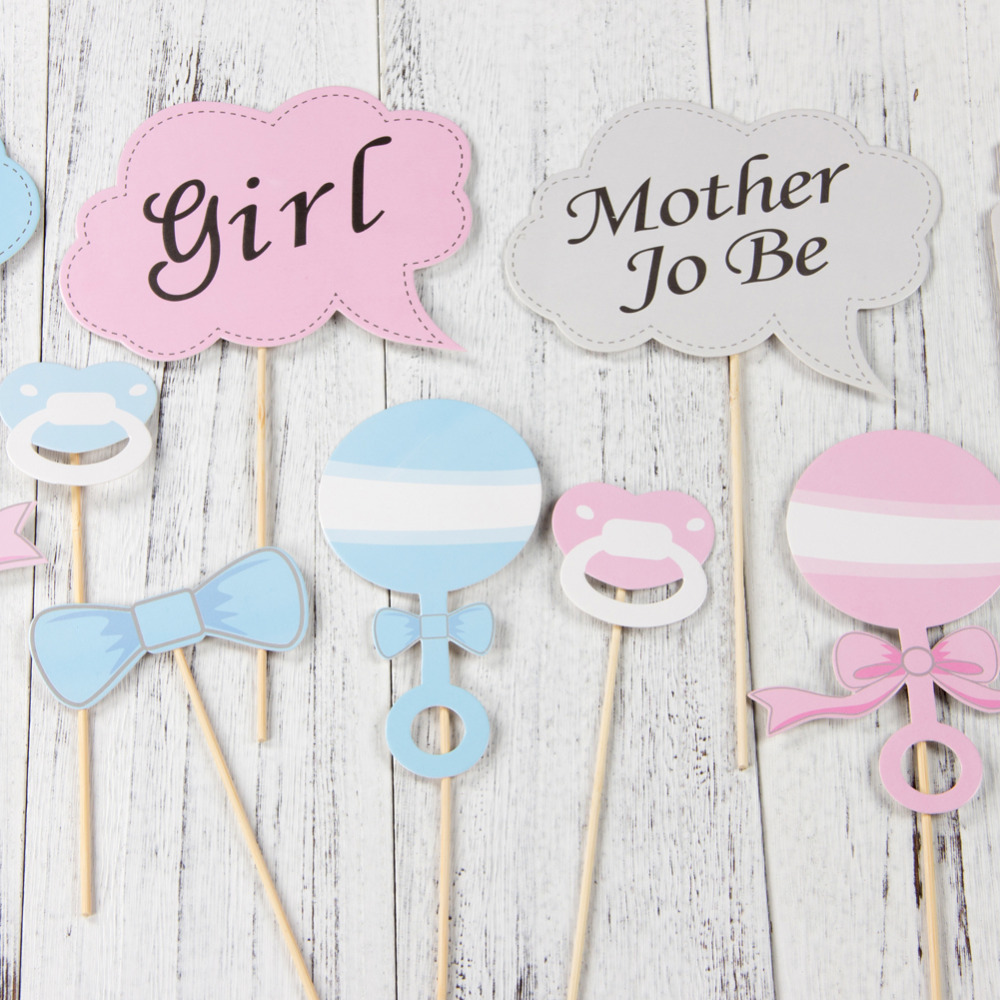 Fun Baby Shower Photo Booth Props Stick DIY Boy Girl Set of 10 Gender Reveal Gifts Baby Bottle Wedding Party Decorations