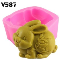 Cake Molds Chocolate Silicone 3D Easter Rabbit Animal Soap Mold Resin Clay Candle Fondant Cake Decorating Baking Tools(China)