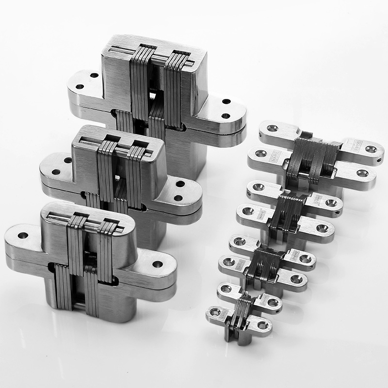 High-quality 180 Degree Concealed Hinge Folding Heavy Built-in Door Hinges Invisible Hidden Cross Gemel Stainless Steel