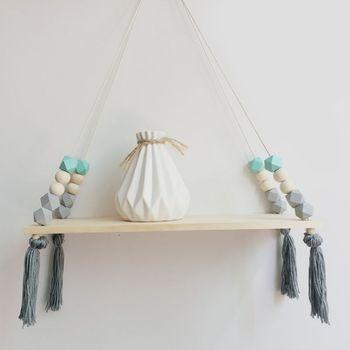 Estante de madera de estilo nórdico con borlas, estante colgante de cuerda para pared, estante para decoración de dormitorio, sala, cocina, nuevos de oficina