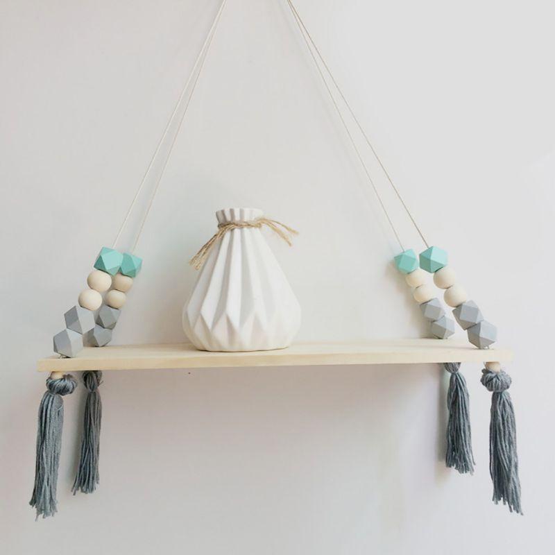 Nordic Stil Holz Perle Quasten Lagerung Rack Wand Seil Hängen Regal für Decor von Schlafzimmer Wohnzimmer Küche Büro Neue
