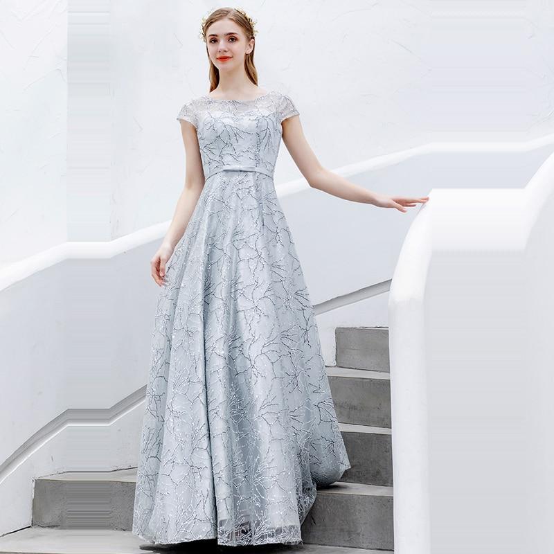 Evening     Dress   Silver Slim Robe De Soiree Short Sleeve Women Party   Dresses   2019 Plus Size Boat Neck Elegant   Evening   Gowns E646