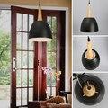 Скандинавские подвесные светильники для дома  современные подвесные светильники  Деревянный алюминиевый абажур  светодиодная лампа для сп...