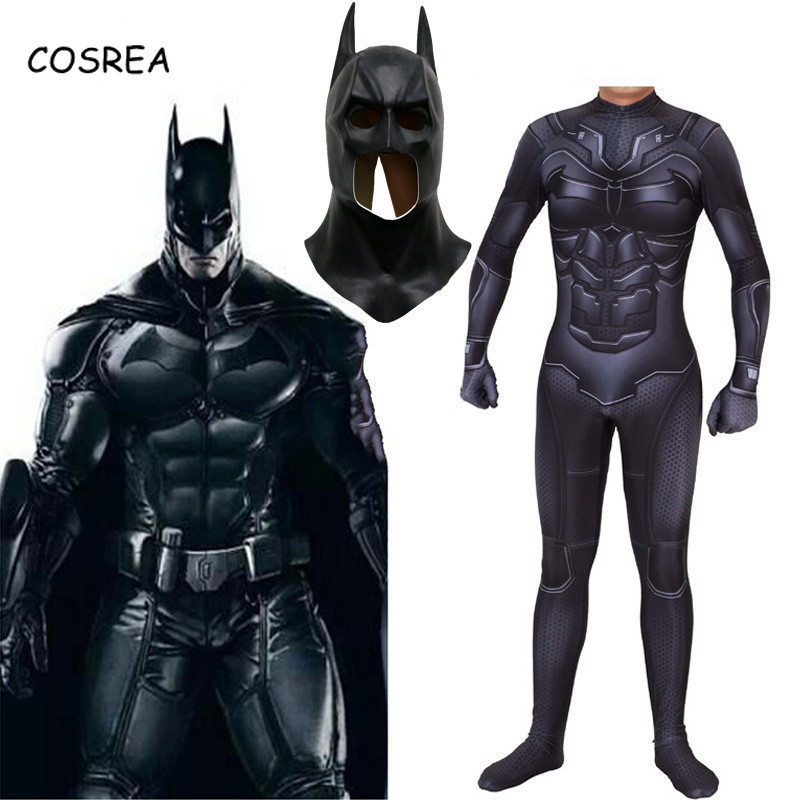 Batman Cosplay Costume Mask Suit The Dark Knight Bruce Wayne Superhero Halloween Costume Zentai Bodysuit Jumpsuit Kids Men Adult