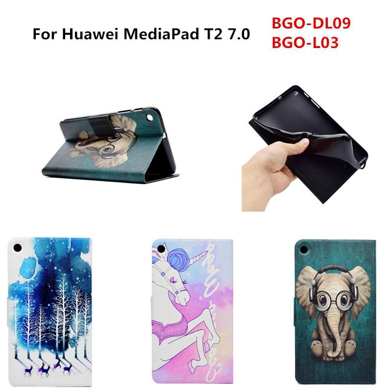 Haute Qualité Ultra Mince Folio Tpu Retour + PU En Cuir Stand mignon Cas de Couverture Pour Huawei Mediapad T2 7.0 BGO-DL09 BGO-L03 Tablet