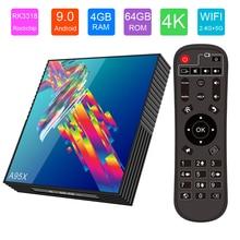 Android Tv Box A95X 3318 Android 9.0 Rockchip RK3318 4GB 64GB Quad Core Smart Tv Box 2.4/5.8G BT4.2 WiFi 4K HDR Media Player hk1 mini android 9 0 tv box 4gb 64gb rk3318 quad core 32gb smart tv box 2 4 5 0g wifi bt4 0 hdr 4k 3d media player