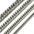 7-15mm Stainless Steel Necklace Curb Chain Necklace Huge Heavy Silver Tone Mens Chain 18-36inch Wholesale Jewelry  LKNM33
