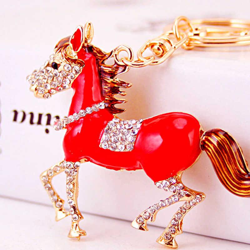 Criativo Bonito Cavalo Vermelho Chave Pingente Cadeia Ornamento Artesanato Cavalo Anel Chave Chaveiro Carro Chaveiro Saco Da Senhora Acessórios Presentes Pendurados