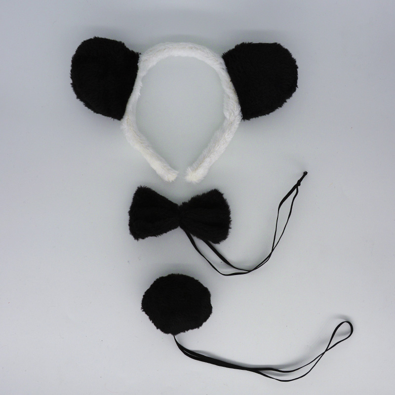 3pcs Set Adults Kids Cat Costume Ear Headband Bowtie Tail Cosplay Party Dress Up