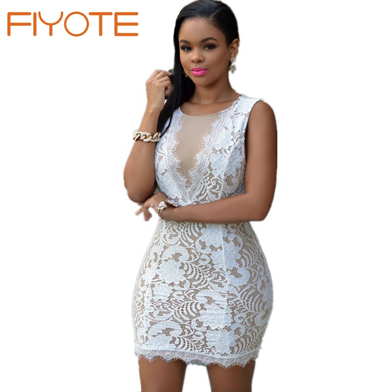 Hot Selling White Lace Nude Illusion Mini Dress Lc22344 Ladies Stylish Lace Dress To -7811
