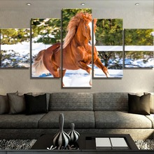 5 Piece Canvas Art Horse Run On The Snow Poster Modern Decorative Paintings on Wall for Home Decorations Decor