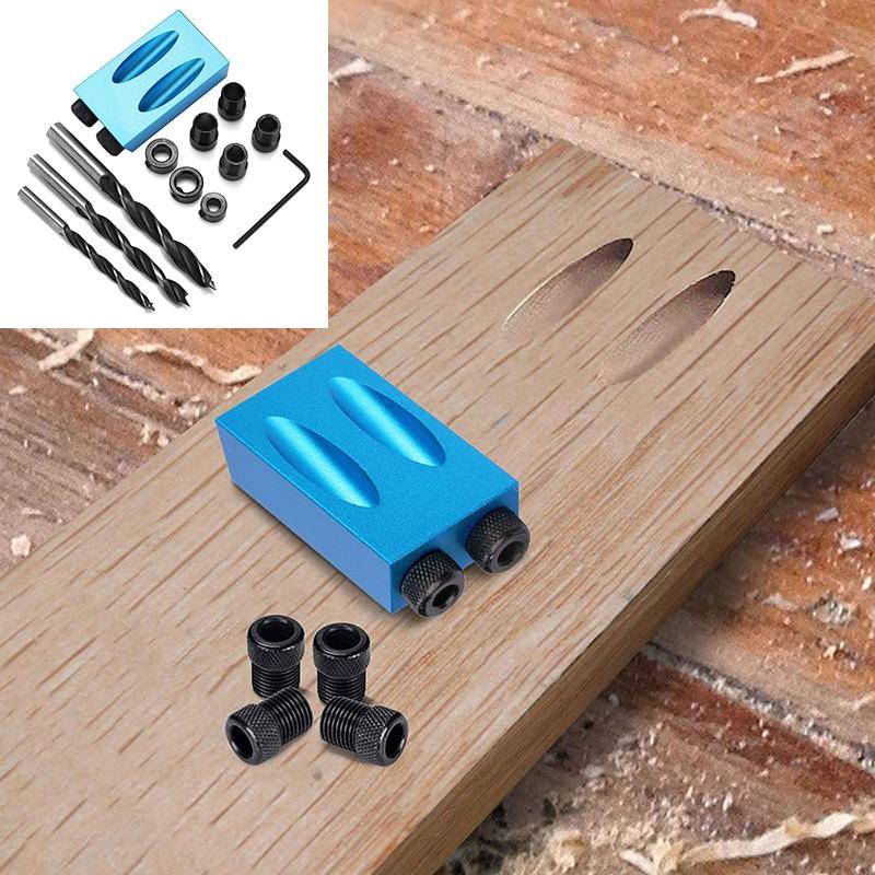 Woodworking Guide Positioner Kit 6/8/10MM Oblique Hole Locator Positioner Drilling Bits Jig Clamp Kit Oblique Hole Locator 14pcs