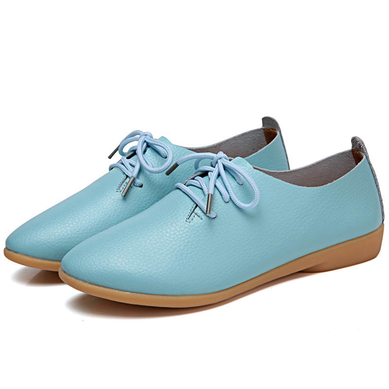 d70da794297b6 Mstacchi 2018 Fashion Women Leisure Shoe Laces Flat Student Shoes Woman  Round Toe Real Leather Flats Shoes Lace up White Shoes-in Women s Flats  from Shoes ...