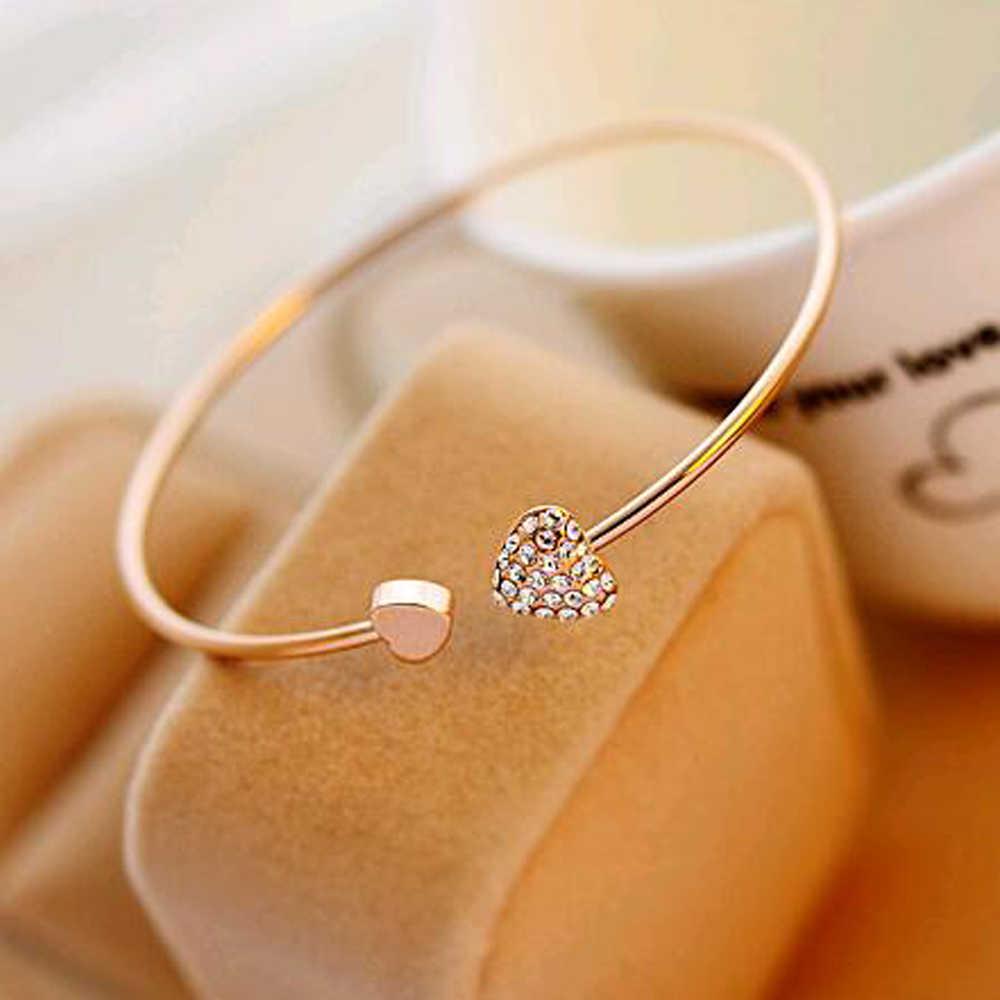 2017 chất lượng cao tim với trái tim đôi bracelet pha lê tình yêu mở vòng đeo tay vàng nữ Phụ Kiện