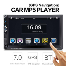 """8001 2Din 7"""" Universal Car Radio Video Stereo MP5 Player GPS Navigation FM Bluetooth Remote Control Support Rear-view Camera"""