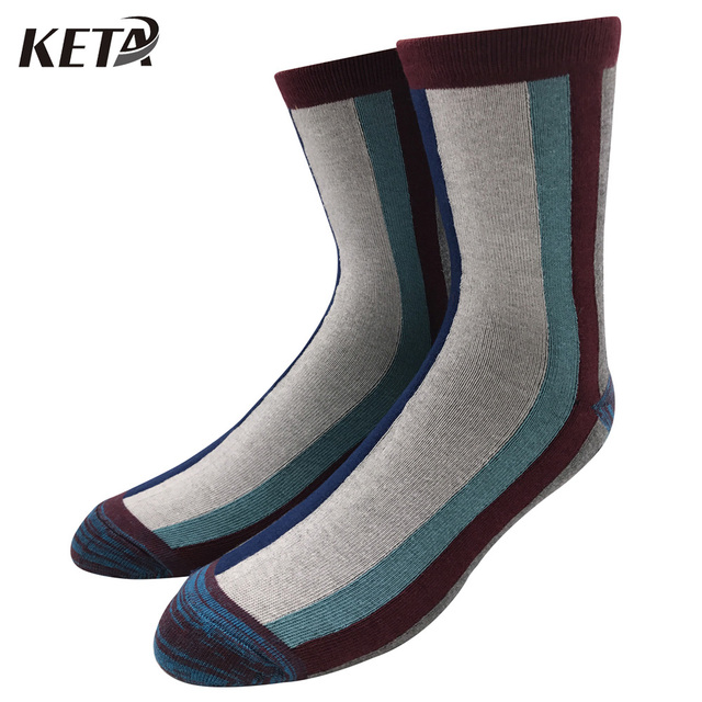 Keta Fashion Brand Men Socks Colorful Stripes Crew Socks Business For Male Cotton Breathable Dress Sox