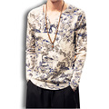 China style printing cotton linen mens t shirt male long sleeve fashion casual tees shirts plus size tshirts M-5XL,F03