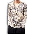 Estilo de China de impresión de lino de algodón para hombre t camisa masculina moda casual de manga larga camisas de las camisetas más el tamaño camisetas M-5XL, F03