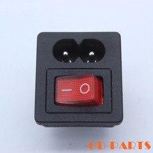 Conector de toma de corriente con interruptor basculante rojo, 10 Uds., IEC 320 C8, 250V, 2.5A, CCC, CE
