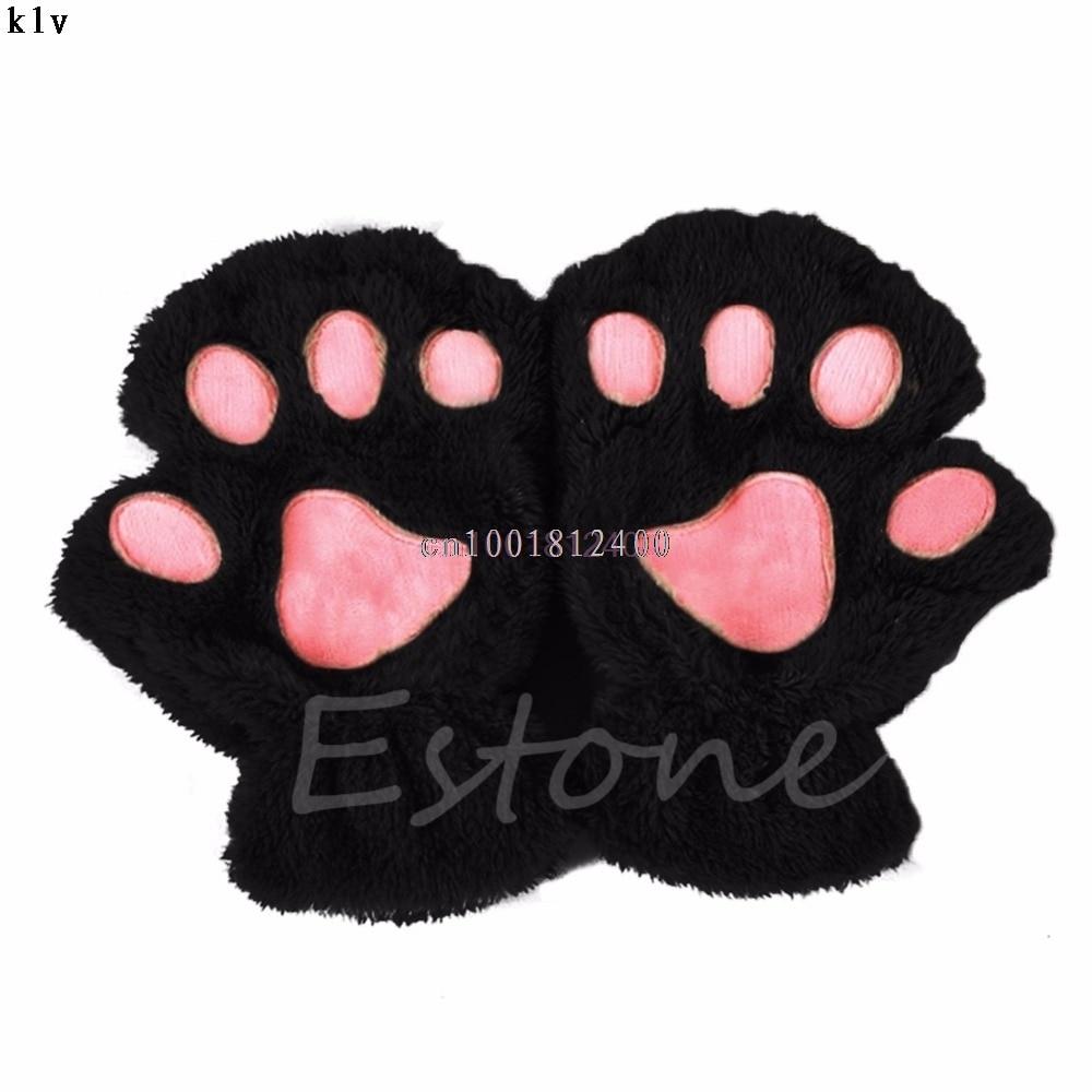 Winter Women Cute Cat Claw Paw Plush Mittens Short Fingerless Half Finger Gloves