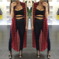 new style Europe women Jacket Print Long cardigan Fashion Plaid Sleeveless vests