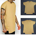Mens Khaki Tyga T-Shirt Fashion Irregular Solid Cotton Swag Tops Hip Hop Creative Kanye West Long Clothing