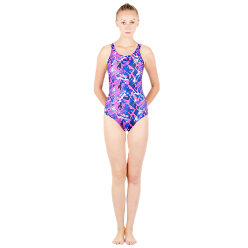 HXBY Floral Print Women One Piece Swimming Suit Professional Female Nylon Swimming Suit Floral Print One Piece Women Swimwear