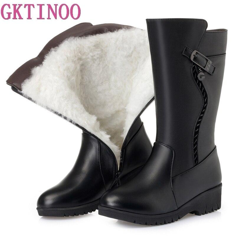 GKTINOO Winter Boots Wool Fur Inside Warm Shoes Women Wedges Heels Soft Leather Shoes Platform Snow