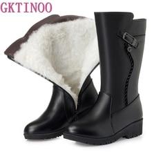 GKTINOO Botas de invierno de piel de lana para mujer, zapatos cálidos con cuña, zapatos de piel suave, Botas de nieve con plataforma, calzado