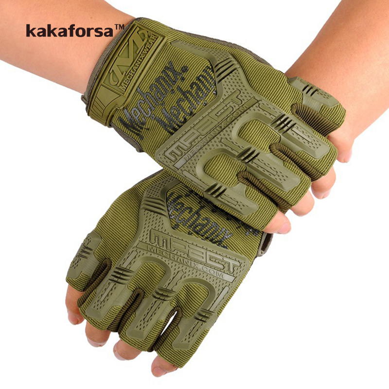 Kakaforsa Men Army Green Polyester Fingerless Gloves
