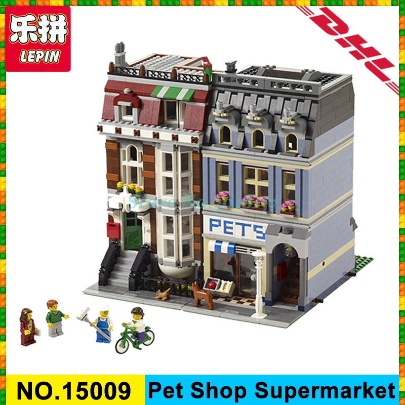 LEPIN 15009 Pet Shop Supermarket Model City Street Building Blocks Compatible 10218 Toys For Children birthday gift in stock lepin 02012 city deepwater exploration vessel 60095 building blocks policeman toys children compatible with lego gift kid sets