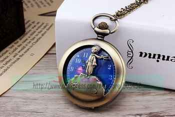 100pcs/lot designer blue dial retro pocket watch bronze color kids case quartz watch for unisex wholesale scarf child clock