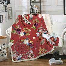 New Design Dreamcatcher Blanket Watercolor Bohemian Microfiber Sherpa Throw Colorful Exotic Bedding Mantas