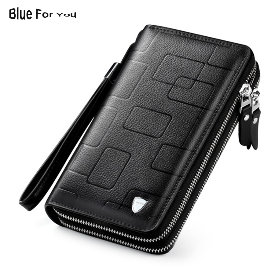 2018 Luxury Cowhide Men Clutch Bag Genuine Leather Long wallet Business Men Clutches double Zipper Purses Male Function Wallets 2018new men wallets luxury brand men wallet leather genuine cowhide men s clutch bags hot business casual purses man bag polo128
