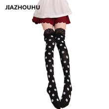 цена на Dot Printed Cute Stockings With Garters Women's White Stockings Tights Socks Lace Sexy Female Thin Long Cotton Women Knee Socks