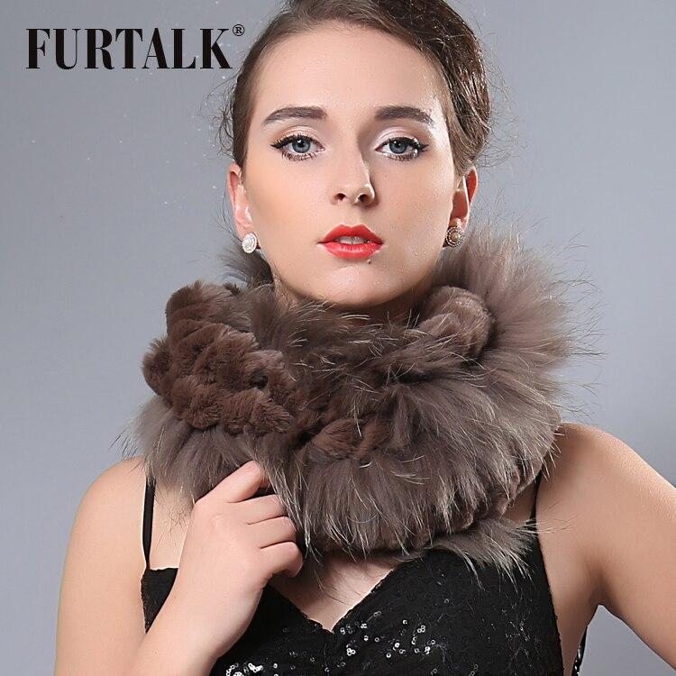 FURTALK 70 30cm real fox rex rabbit fur scarf wraps for women infinity fur scarf winter