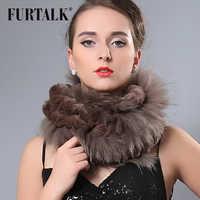 FURTALK 70*30 センチメートル本物のキツネのレックスウサギの毛皮のスカーフラップ女性のための毛皮のスカーフの冬スヌード女性