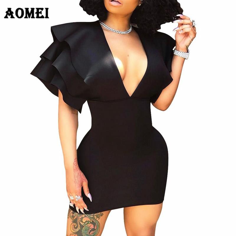 Женское вечерние Вечеринка Клубная одежда глубокий v-образный вырез сексуальное облегающее оборки рукав эластичный черный Vestido модные летн...