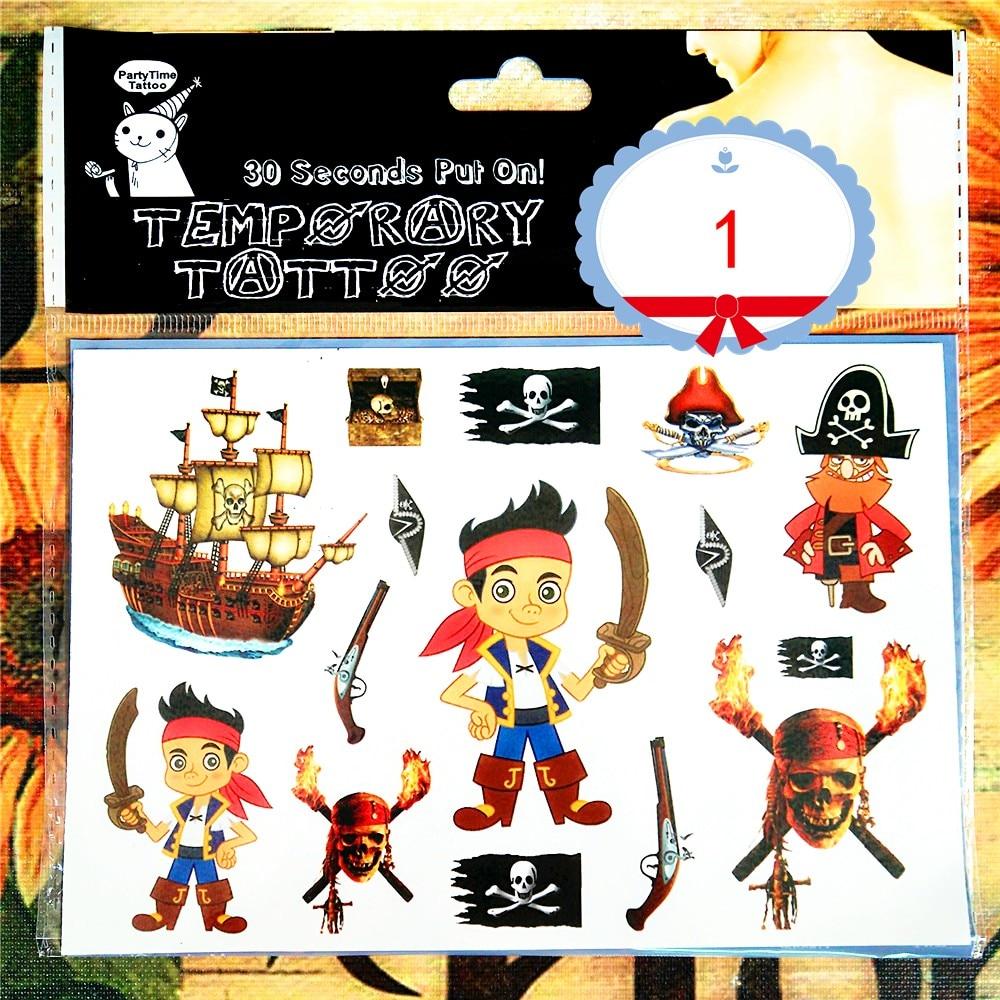 SHNAPIGN Pirates of Carribean Child Temporary Tattoo Body Art Flash Tattoo Stickers 17*10cm Waterproof Henna Styling Sticker 9