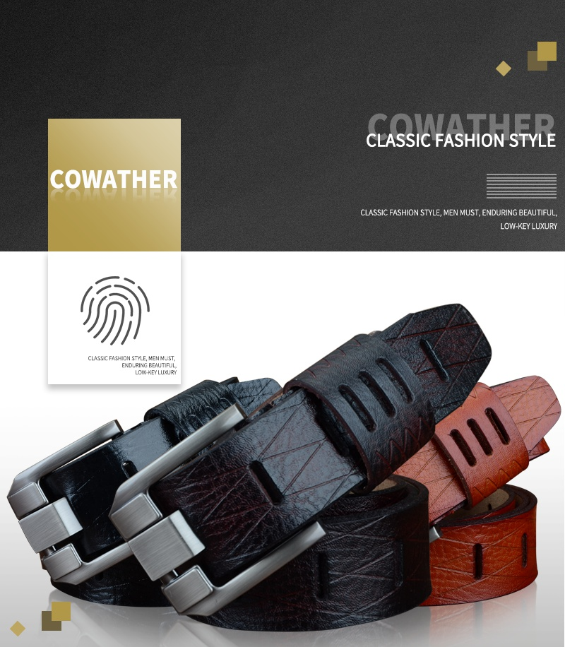 COWATHER 2017 QUALITY cow genuine luxury leather men belts for men strap male pin buckle BIG SIZE 100-130cm 3.8 width QSK001 4