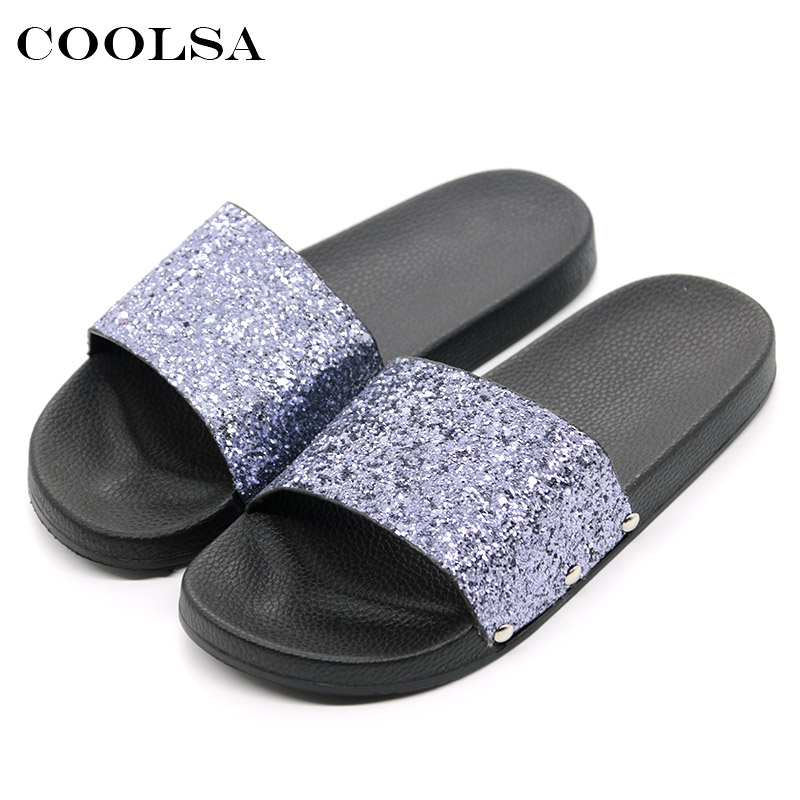 COOLSA New Summer Women Flip Flop Bling Slippers Sparkling Sequins PU Flat Non Slip Slides Home Slipper Lady Casual Beach Sandal coolsa new summer linen women slippers fabric eva flat non slip slides linen sandals home slipper lovers casual straw beach shoe page 9