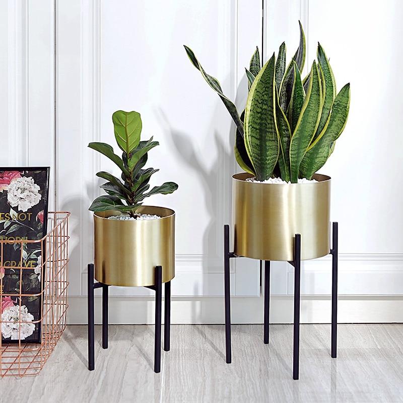 Golden Flower Pot Stainless Steel Wrought Iron Metal