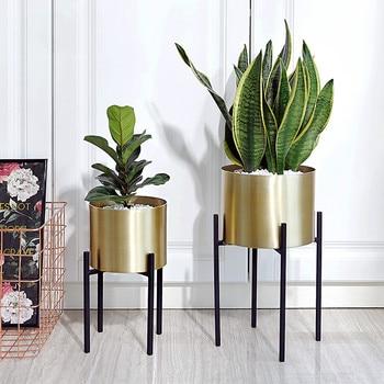 Golden Flower Pot Stainless Steel Wrought Iron Metal Flower Stand