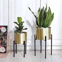 Golden Flower Pot Stainless Steel Wrought Iron Metal Flower Stand Home Decoration Flower Arrangement Potted Floor Stand